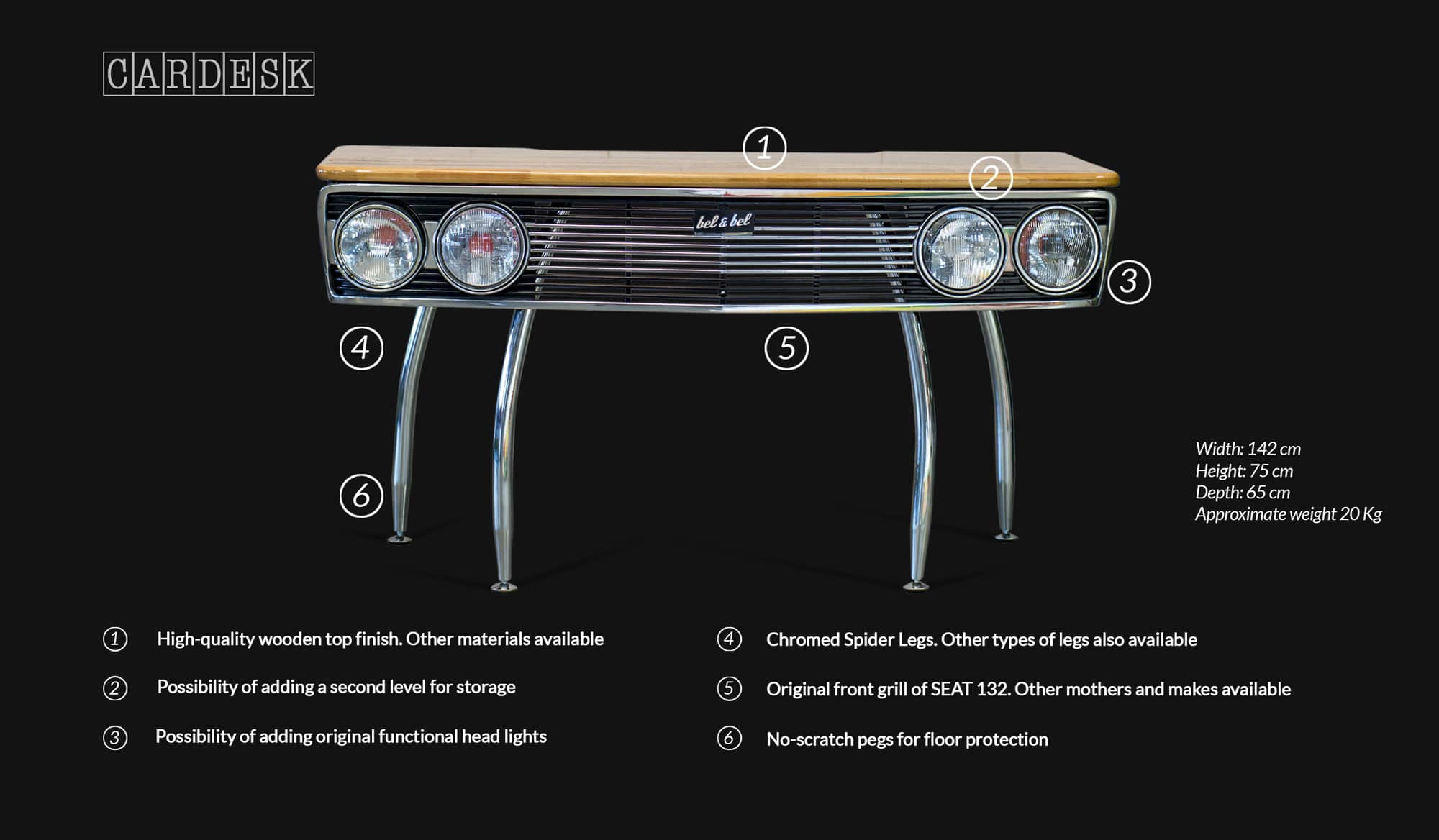 Car Desk Technical Specifications