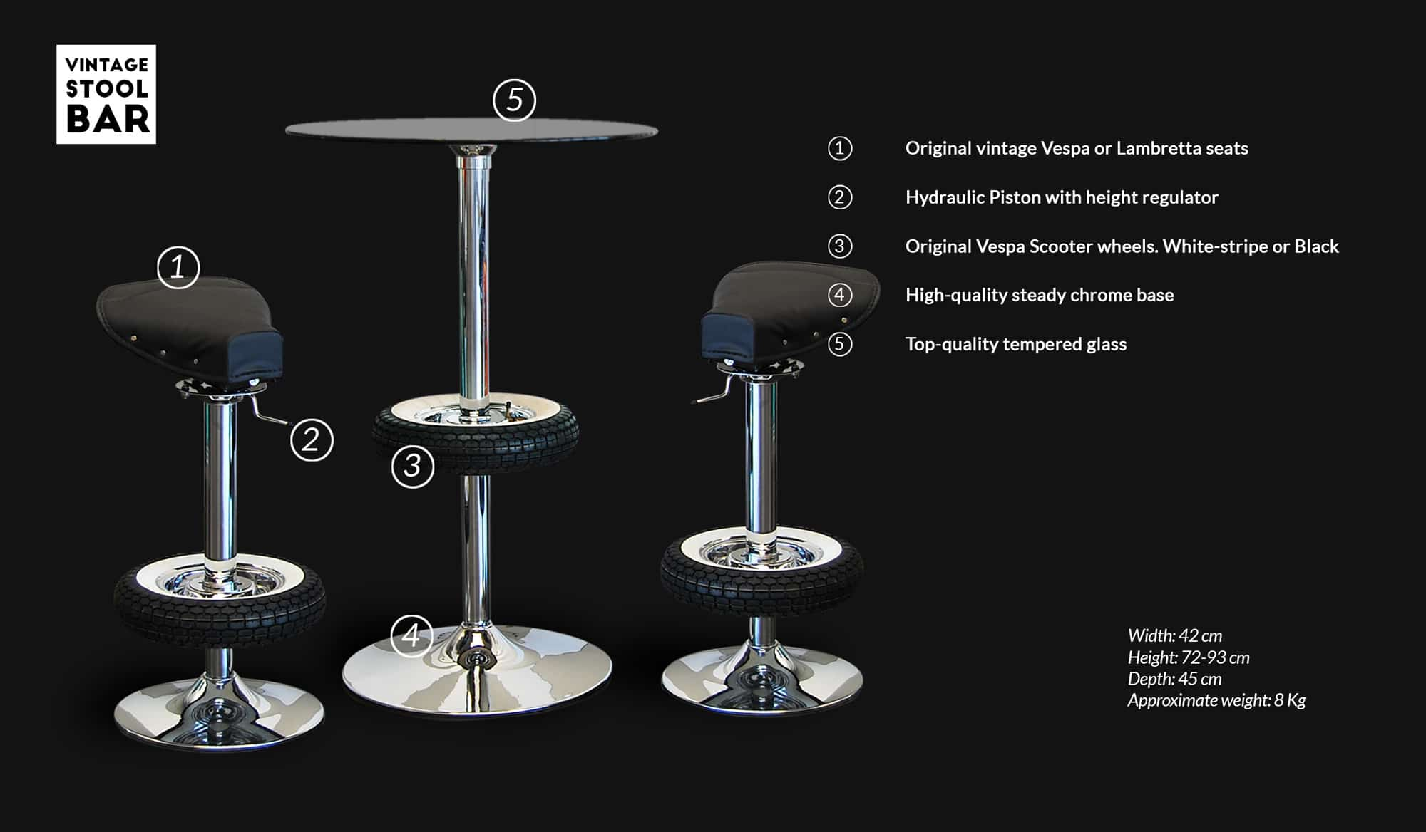 Vintage Stool Technical Specifications
