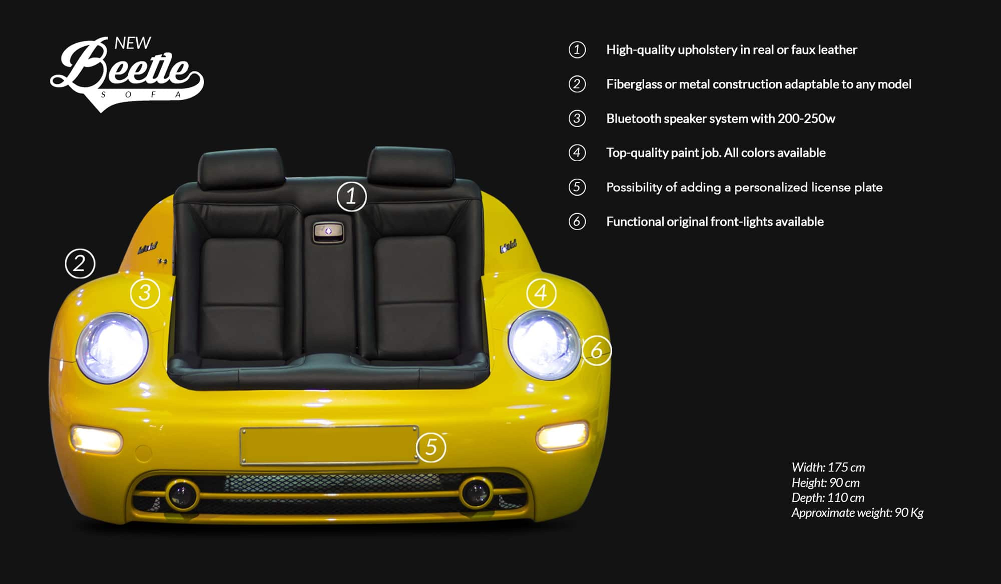 New Beetle Sofa Technical Specifications