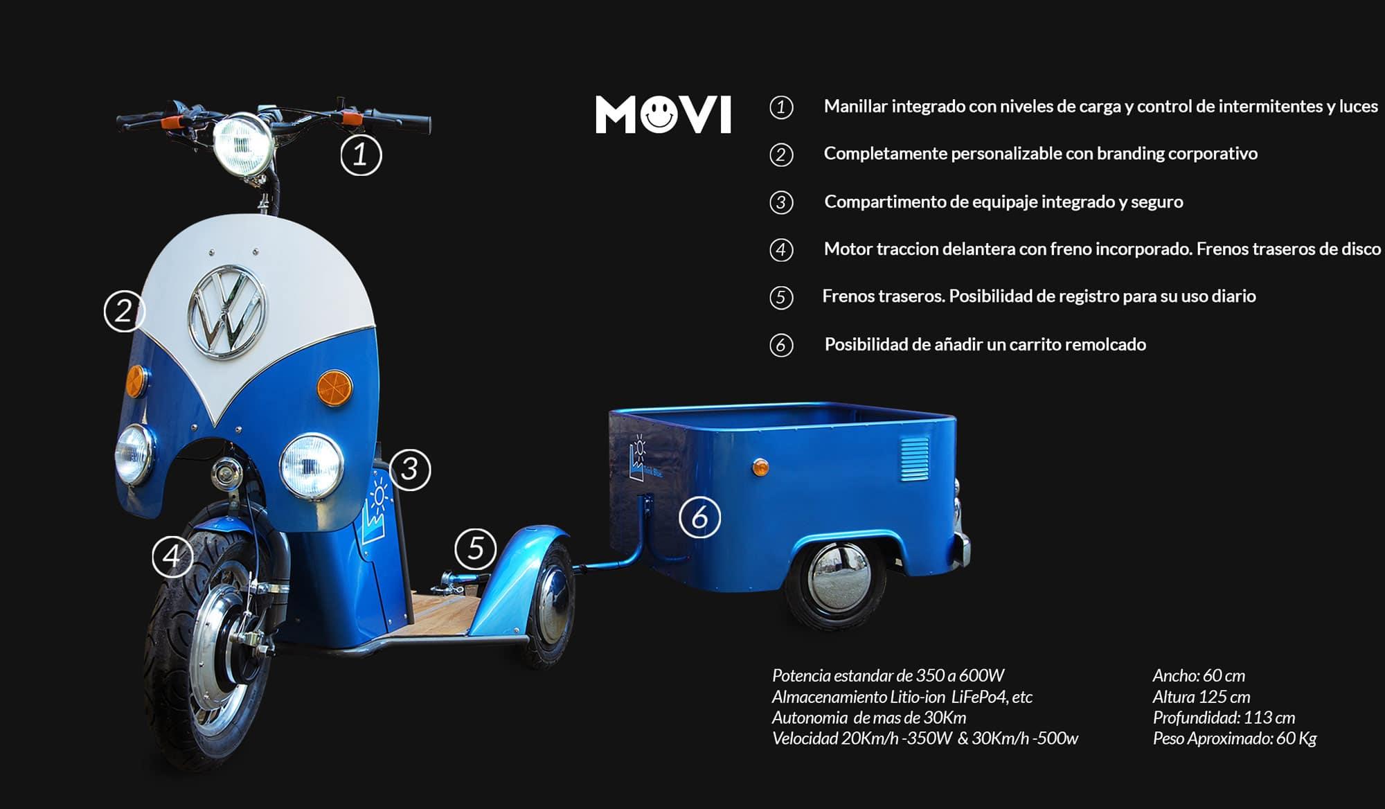 MOVI TRICICLO ELECTRIC ESPECIFICACIONES TECNICAS