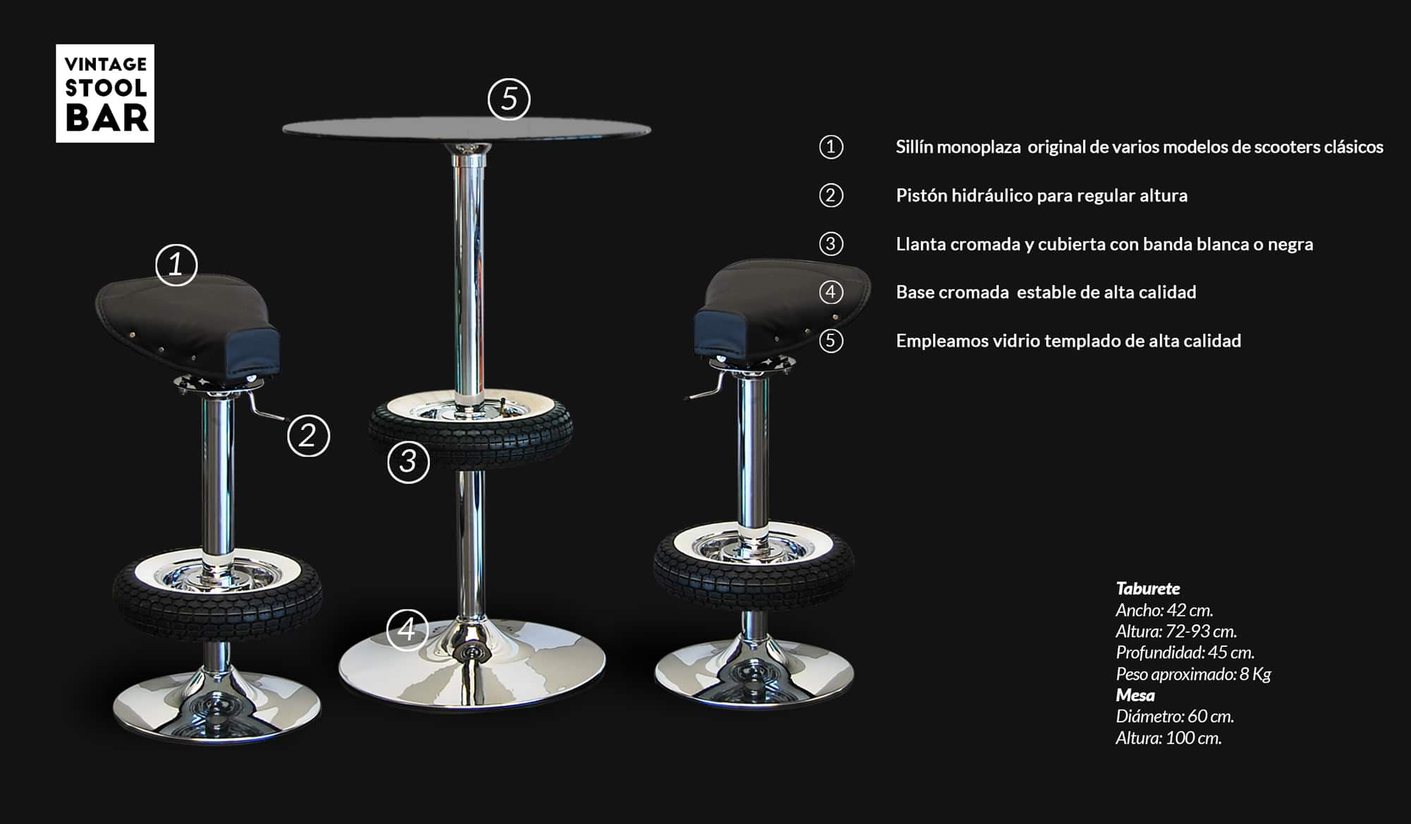 Vintage Stool Bar Especificationes Tecnicas